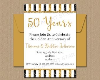 50th Anniversary Invitation Template, Golden Anniversary Party Invitation Printable, Black Gold Glitter Invitation, Fiftieth, Table Sign B4