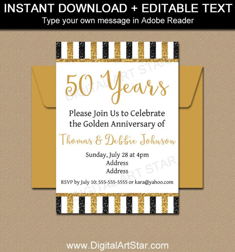 50th Anniversary Invitation Template Golden Party Printable Black Gold Glitter Fiftieth Table Sign B4