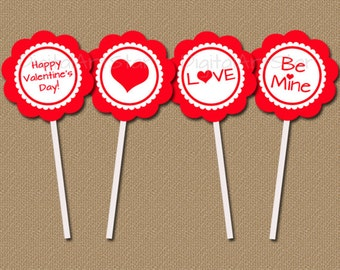 Valentine Cupcake Toppers - DIY Printable Valentine Cupcake Picks - Heart Cupcake Toppers - Red Valentine's Day Favor Tags - Party Picks V7