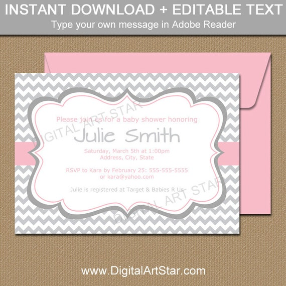 Baby shower invitation template for baby girl pink and gray il570xn filmwisefo