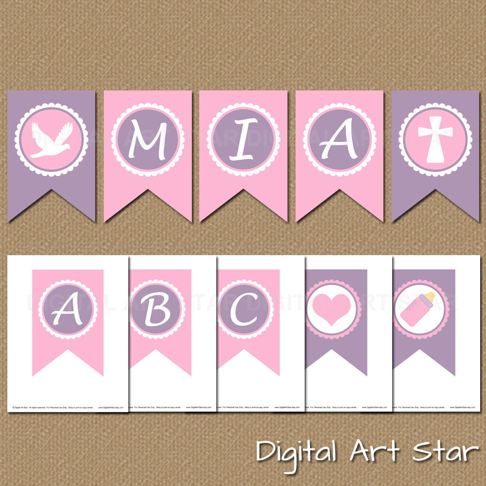 Design Your Own Banner: Printable Alphabet Pennant Banner / Create Your Own Banner