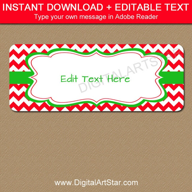 EDITABLE Printable Address Labels DIY Holiday Return