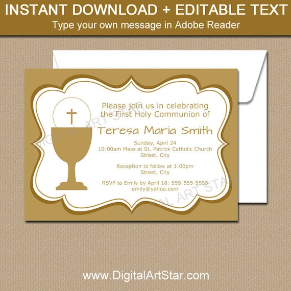 First Holy Communion Invitation Printable Gold First Communion