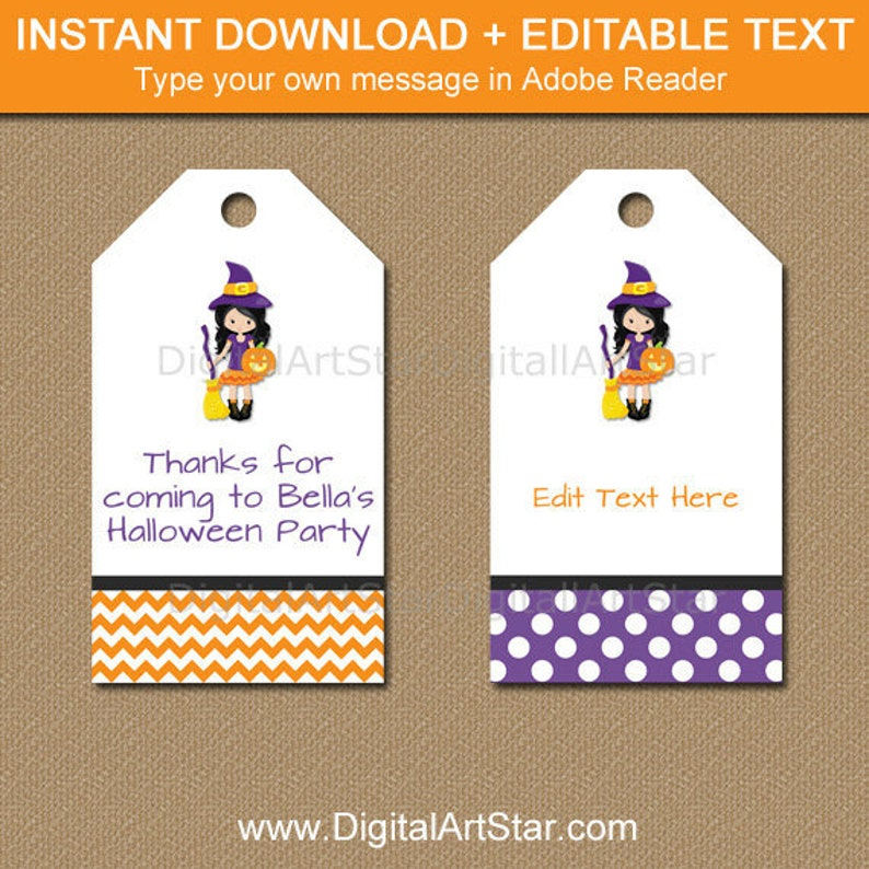 Halloween Gift Tags.Halloween Tags Halloween Favor Tags Halloween Gift Tags Halloween Labels Editable Halloween Hang Tags Printable Witch Tags Wds
