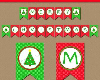 Christmas Tree Banner - PRINTABLE Christmas Banner - EDITABLE Holiday Banner - Downloadable Banner - Christmas Decor - Digital Download C4