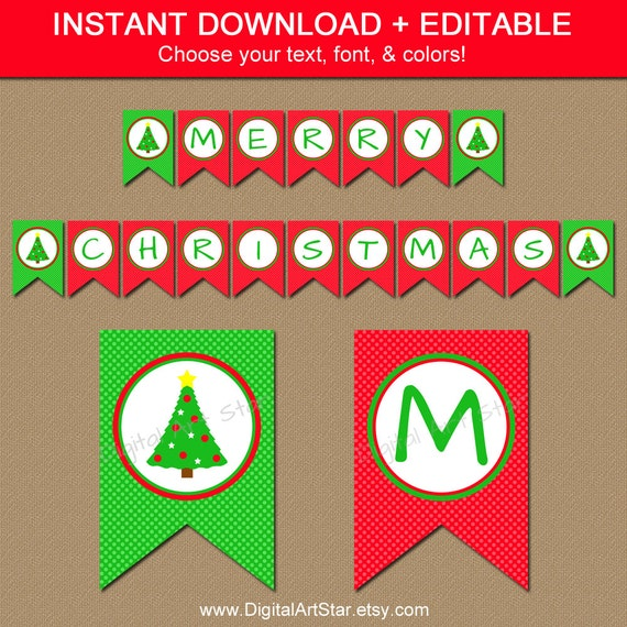 graphic regarding Printable Christmas Banner called Xmas Tree Banner - PRINTABLE Xmas Banner - EDITABLE Holiday vacation Banner - Downloadable Banner - Xmas Decor - Electronic Obtain C4