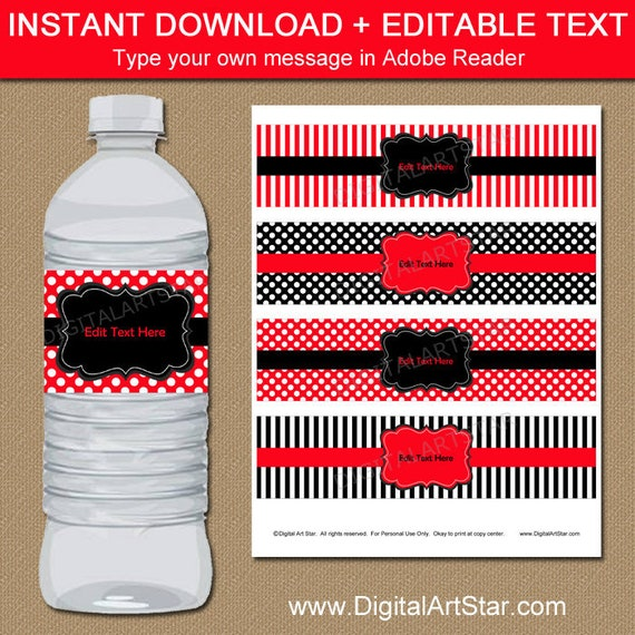 Birthday Water Bottle Labels Red And Black Party Decorations Red