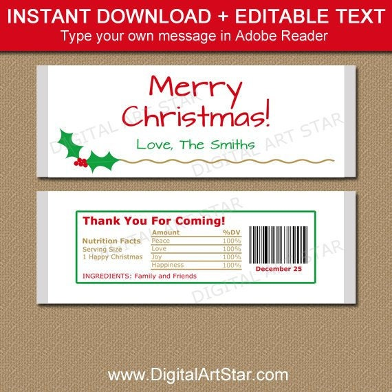 Christmas Candy Bar Wrapper Template Printable Holiday Chocolate