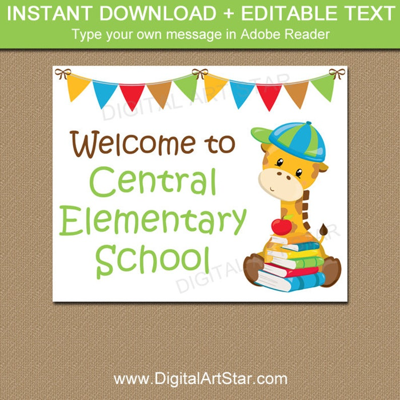 Welcome to School Sign, Printable First Day of School Sign Download,  EDITABLE Back to School Sign, School Office Sign, School Library Sign