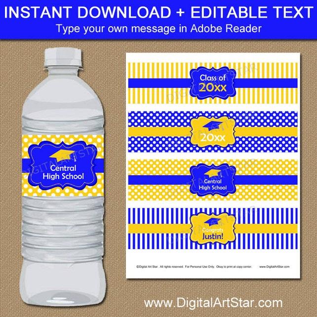 Graduation Water Bottle Labels, Graduation Party Ideas, Graduation Party Decor, Royal Blue Yellow Graduation Labels Editable Template G4