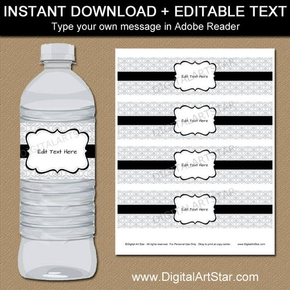 25th Birthday Decorations Black And Silver Water Bottle Label Party Decor Labels Wedding 60th 75th