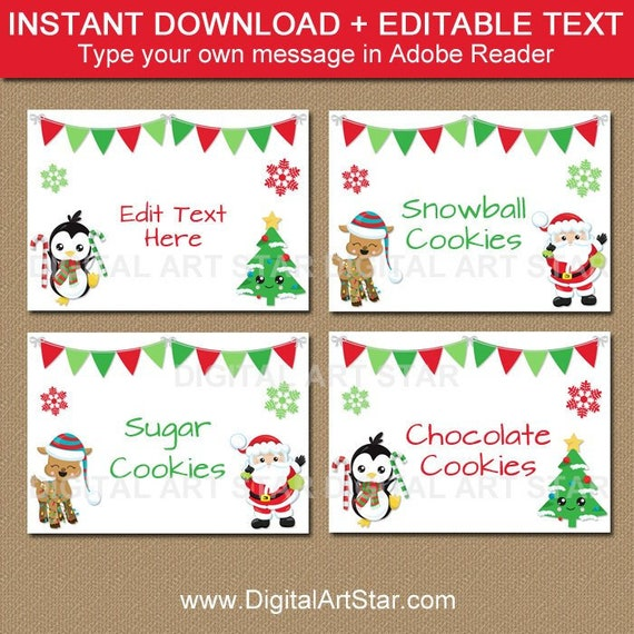 graphic regarding Christmas Labels Printable identified as Xmas Food stuff Labels Printable, Editable Xmas Labels