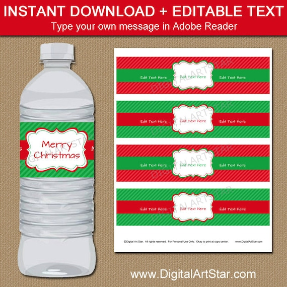 Christmas Water Bottle Label Template Red And Green Holiday Etsy