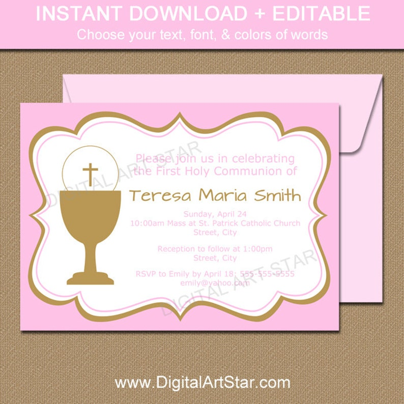 graphic relating to Printable First Communion Invitations named Purple and Gold Initial Communion Invitation Printable - Woman Very first Communion Invitation Template - To start with Communion Decor - Prompt Down load