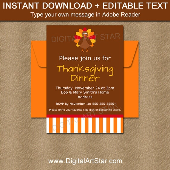 PRINTABLE Thanksgiving Invitation Template Friendsgiving