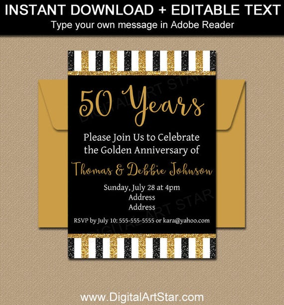 printable 50th anniversary invitations black and gold etsy