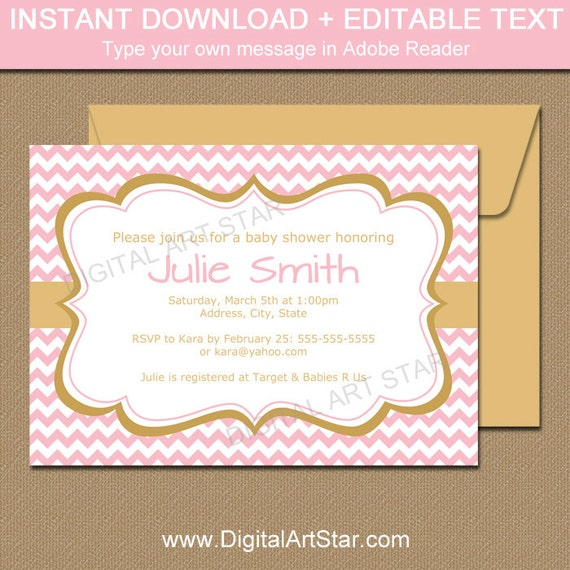Pink And Gold Baby Shower Invitation Template Its A Girl