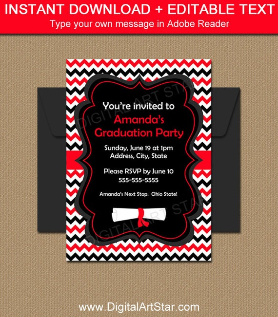 graduation invitation 2019  red and black high school