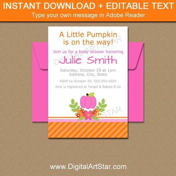 Little Pumpkin Invitation Baby Shower Template