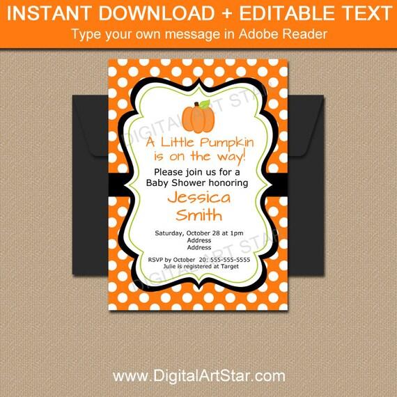 Little Pumpkin Baby Shower Invitation Fall Baby Shower Etsy