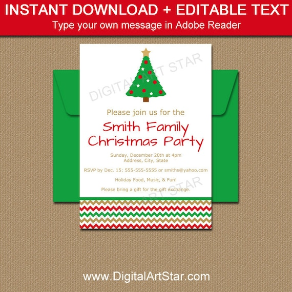 instant download christmas invitations editable holiday party