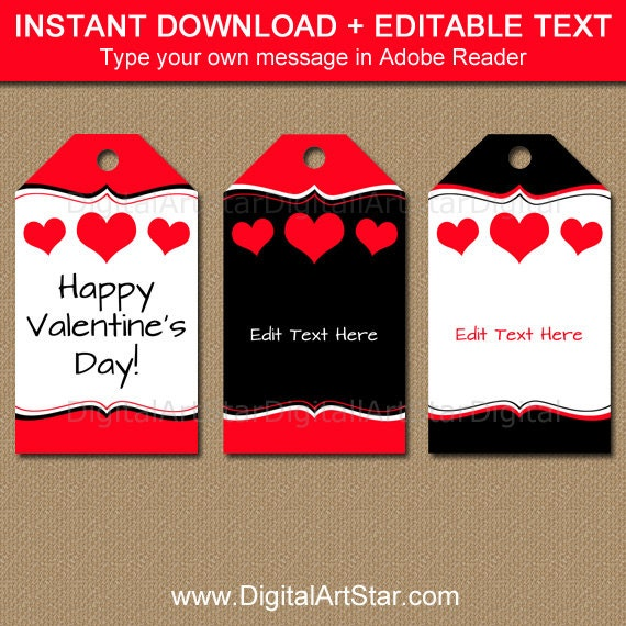 Valentines Day Tags Heart Gift Tags Valentine Gift Tags