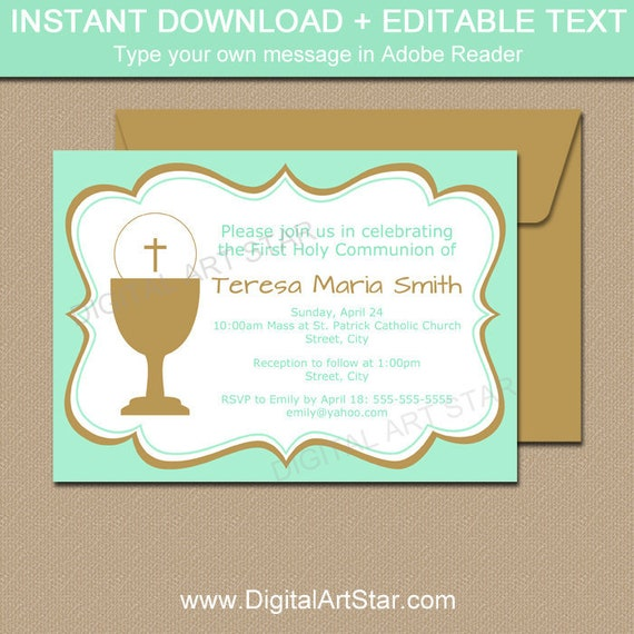 Printable First Communion Invitation Girl Holy