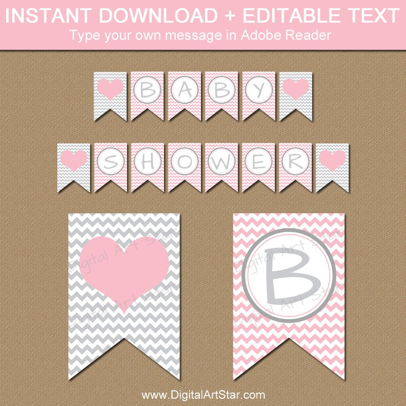 Pink And Grey Baby Shower Banner Girl Baby Shower Banner Etsy