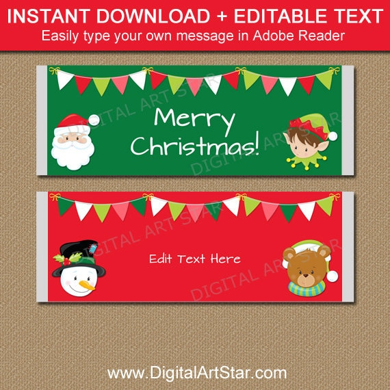 Christmas Candy Bar Wrappers Printable Christmas Candy Etsy