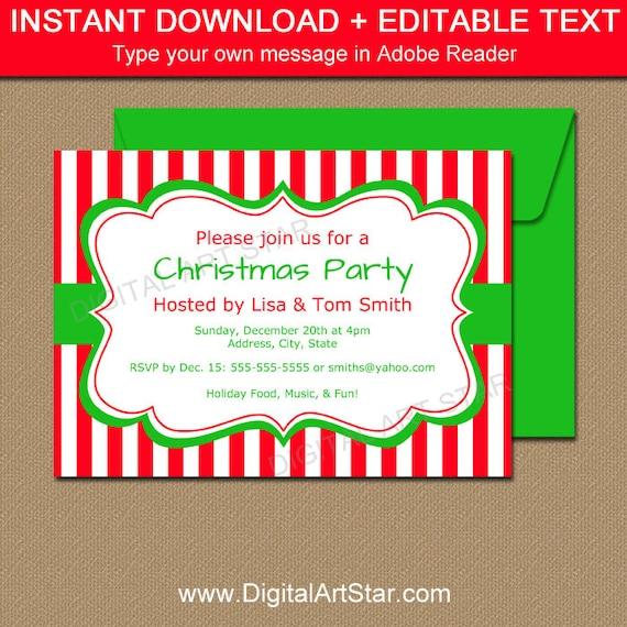 printable christmas party invitation editable xmas invites etsy
