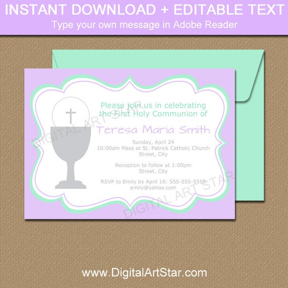 Girls First Communion Invitation Template Mint Lavender 1st Etsy