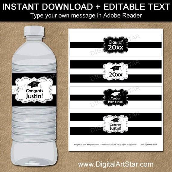 Black And White Graduation Water Bottle Label Template High School