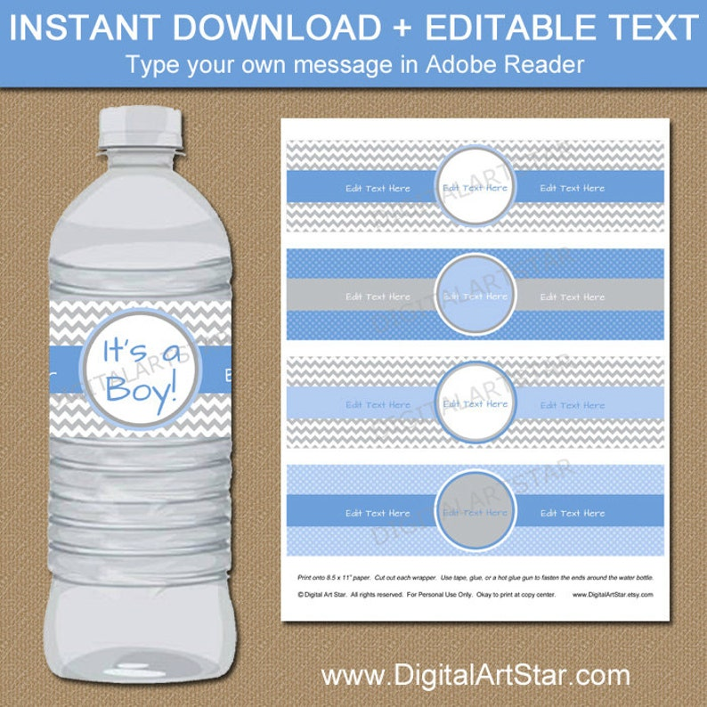 free water bottle labels for baby shower template.html