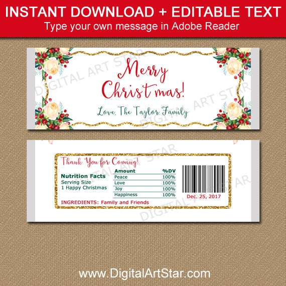 Candy Bar Wrappers Christmas Holiday Candy Bar Wrapper Template