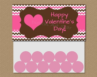 Valentine Treat Bag Toppers - Printable DIY Party Favors - Chevron Pink Brown Heart - INSTANT DOWNLOAD