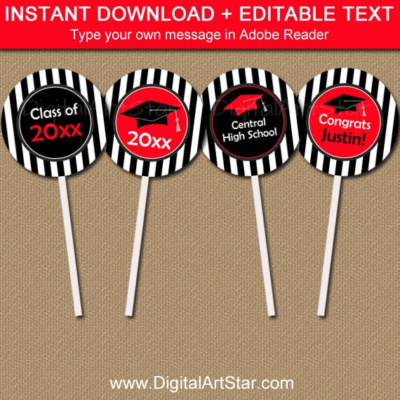 2019 Graduation Cupcake Toppers - Graduation Party