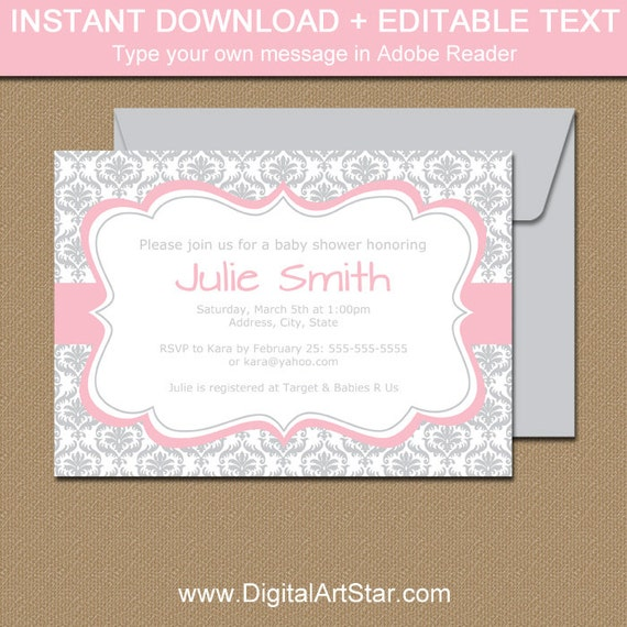 Baby Shower Invitation Girl Pink And Silver Invitation Template