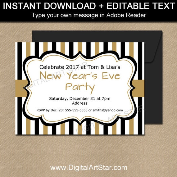 New Years Invitation Template EDITABLE Party Invites 50th Birthday Printable Wedding Anniversary
