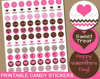 Valentines Day Chocolate Drop Stickers - DIY Printable Digital Chevron Candy Labels Gift Pink Brown Candy Stickers INSTANT DOWNLOAD