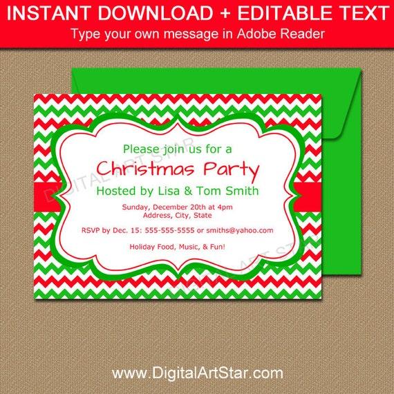 editable holiday invitation template red green chevron etsy