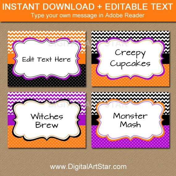Printable Food Labels Instant Download Food Labels Printable Food Labels Digital Buffet Card Editable Buffet Cards Editable Food Labels