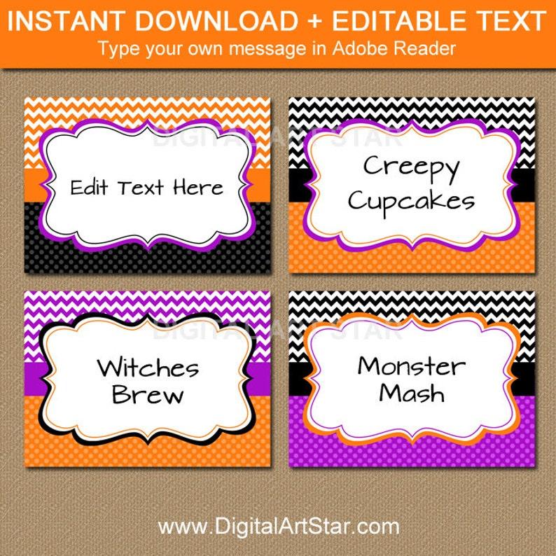 EDITABLE Halloween Chevron Food Labels Printable Buffet image 0