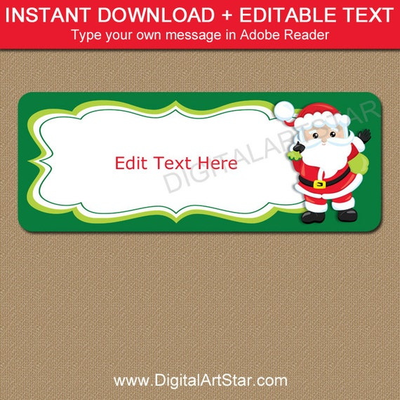 santa labels christmas address labels printable santa gift etsy