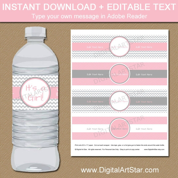 Chevron Water Bottle Labels Printable Baby Shower Water Etsy