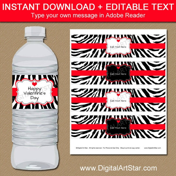 Happy Valentine/'s Day EDITABLE text INSTANT DOWNLOAD Chalkboard Party Decorations Valentine/'s Day Water Bottle Labels or Wrappers