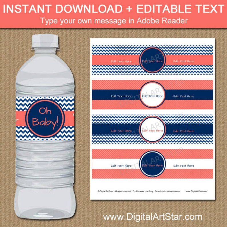 Printable Baby Shower Water Bottle Label Template Coral And Etsy