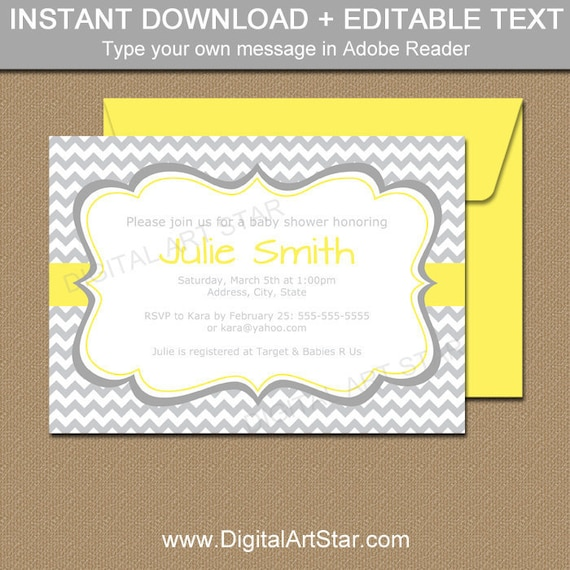 Gender neutral baby shower invitation template yellow and etsy image 0 filmwisefo