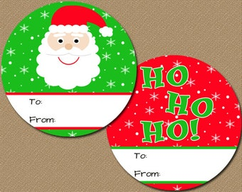 Christmas Gift Tags - DIY Printable Santa Christmas Tags - Printable Holiday Labels - Red Green Christmas Stickers - INSTANT DOWNLOAD C4