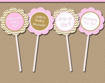 Chevron Baby Shower Cupcake Toppers - Instant Download & EDITABLE - Modern Pink Gold Printable Cupcake Picks - Bridal Shower, Birthday GPCD