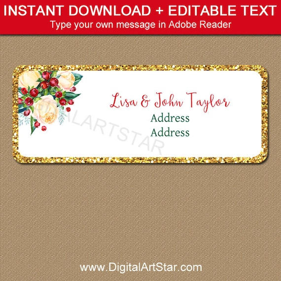 Christmas Address Label Template Editable Return